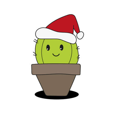 Cute and funny fat cactus wearing Santa hat for Christmas and smiling - vector. 向量圖像