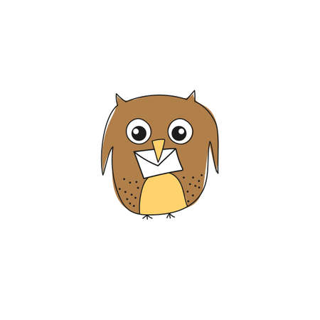 Funny vector illustration of owl with a letter isolated on white background. Cartoon owl character.