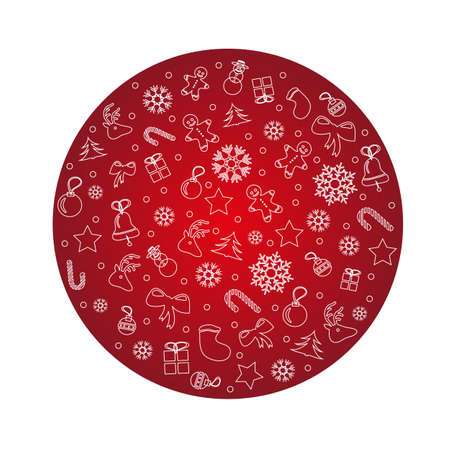 Christmas greeting illustration. Red Christmas circle made from stars, snowflakes, toys.