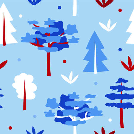 Blue forest with trees - cartoon seamless pattern