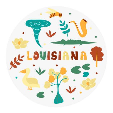 USA collection. Vector illustration of Louisiana theme. State Symbols - round shape 向量圖像