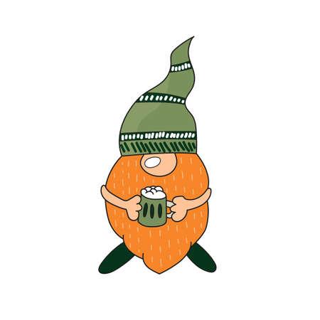 St. Patrick Day - Irish gnome with green beer. Cartoon vector Leprechaun color illustration for cards, decor, shirt design, invitation to the pub. Vector Illustratie