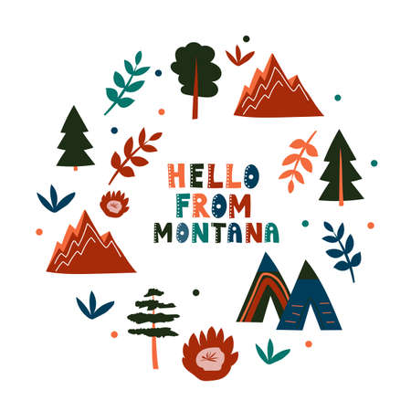 USA collection. Hello from Montana theme. State Symbols