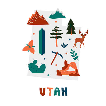 USA map collection. State symbols and nature on gray state silhouette - Utah. Cartoon simple style for print