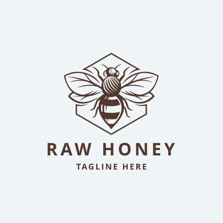 Raw Honey with leaf Logo Template