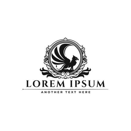 Classic Luxury Ornamental Badge griffin logo design Stock Illustratie