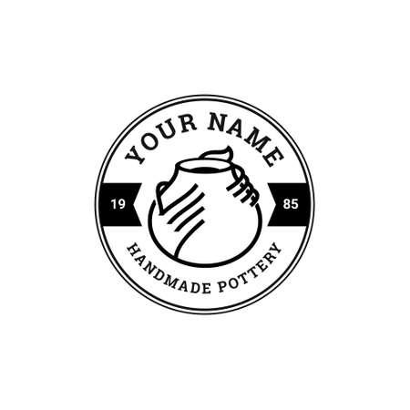 Handmade Pottery Badge Logo Template Stock Illustratie