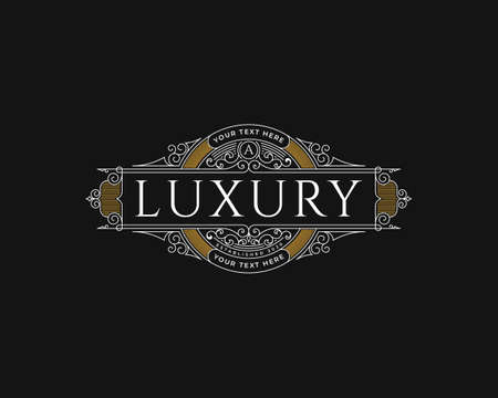 heritage luxury vintage logo design with decorative frame Stock fotó - 155863303