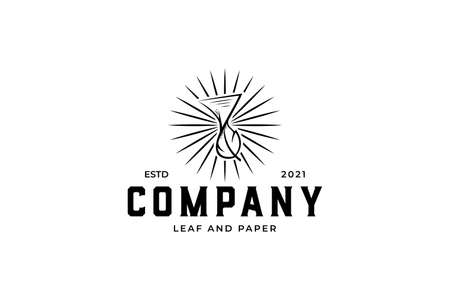 Creative Leaf and Paper Hand Drawn logo design