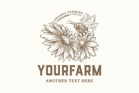 vintage hand drawn organic honey farming logo