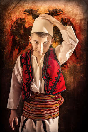 albanian: Child in Albanian traditional costume Stock Photo