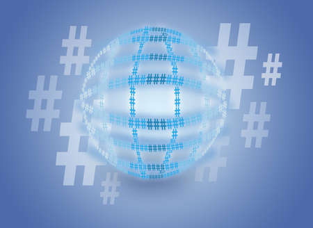hashtag globe in front of blue background photo