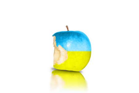 ukrainian flag: Half-eaten apple in ukrainian flag colors