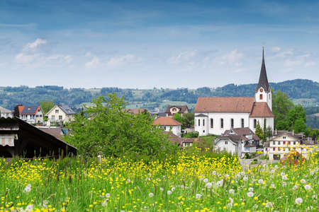 st gallen: landscape of village in st. gallen