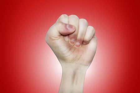 caricature of raising up left fist