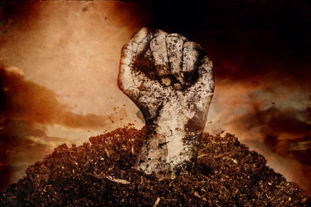 dirty fist raising up over the soil in front of sunset sky
