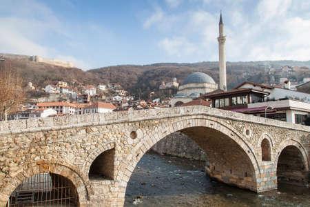 old stonebridge landmark of prizren, kosovo at wintertime
