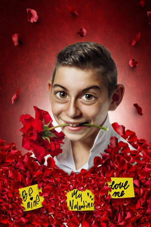 teen boys: caricature of boy holding rose in mouth and stucking full with roses