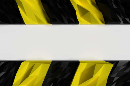 barrier tape: 3d rendering of black and yellow polygon warning zone pattern on white background Stock Photo