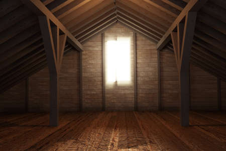 attic: 3d rendering of an empty wooden attic room Stock Photo