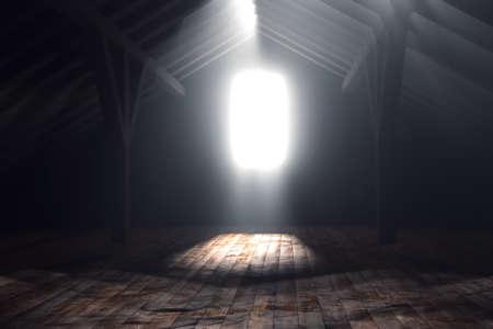 3d rendering of darken empty attic with light rays Standard-Bild