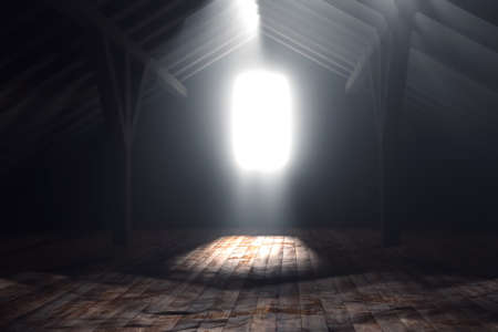attic: 3d rendering of darken empty attic with light rays Stock Photo