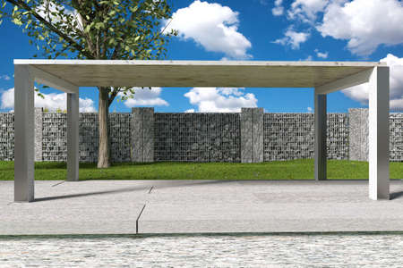 gabion mesh: 3d rendering of green garden with gabione and stone plates Stock Photo