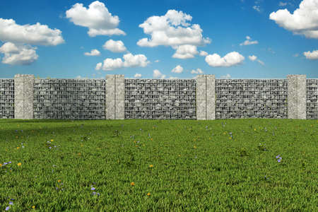 3d rendering of green garden with gabione and stone plates Stok Fotoğraf