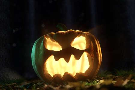 darken: 3d rendering of shiny halloween Jack-o-Lantern pumpkin at darken forest Stock Photo