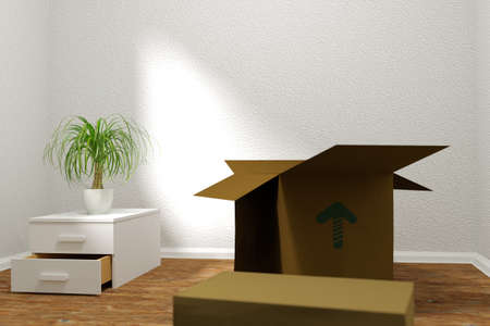 removals: 3d rendering of relocation. Empty room with cardboard boxes and plant Stock Photo
