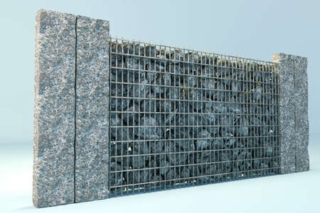 gabion mesh: 3d rendering of grey gabione with gravel stones and stone plates