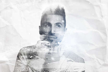 atractive: double exposure of atractive young man warm up with pullover and looking sideways