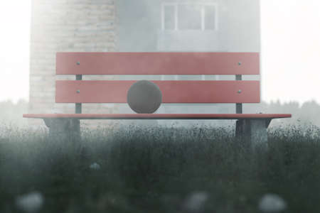 prefab: 3d rendering of abandoned red park bench with ball on it in the morning fog