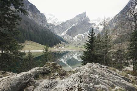 lake of seealpsee in Switzerland Stock Photo