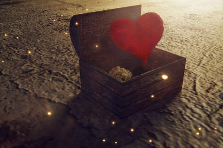 3d rendering of wooden treasure and fallen red heart Stock Photo