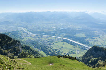 rheintal: Mountain meadow of Hoher Kasten in front of valley of Rheintal, Canton St. gallen
