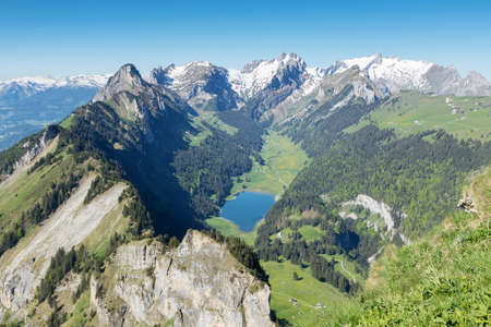 st gallen: Panorama view of Alpstein mountain with lake of Ebenalp. Canton of St. Gallen, Appenzell, Switzerland Stock Photo