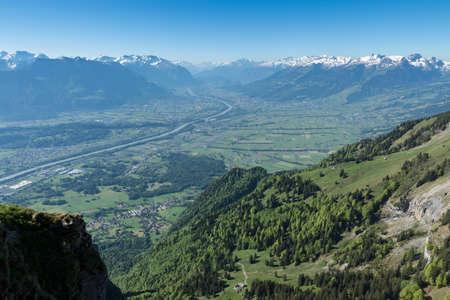 rheintal: Mountain forest of Hoher Kasten in front of valley of Rheintal, Canton St. gallen