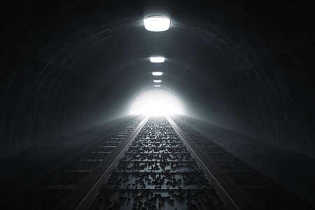 끝에 어두운 빛 기차 터널의 3d 렌더링