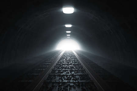 3d rendering of darken train tunnel with light at the end