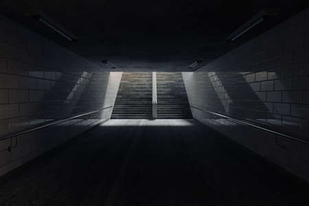 3d rendering of subway underpass with staircase at the end