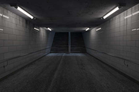 3d rendering of darken underpass with lights and staircase at the end at night Stok Fotoğraf