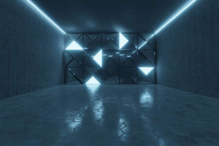 3d rendering of abstract background with blue light and stacked glass triangles