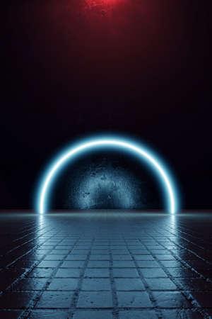 3d rendering of blue lighten half circle shape and grunge wall background Banco de Imagens