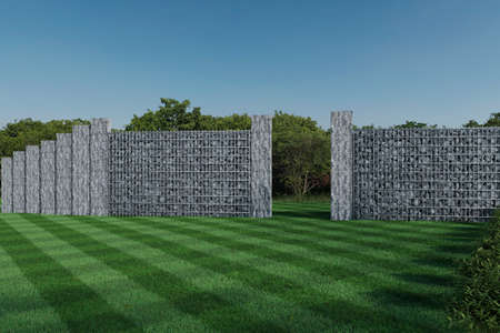 3d rendering of green garden with gabion wall and stone palisade