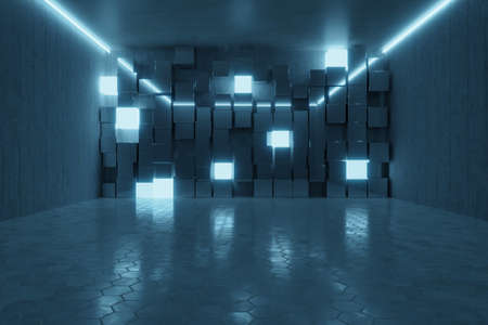 3d rendering of abstract background with blue light and stacked glass cubes 写真素材