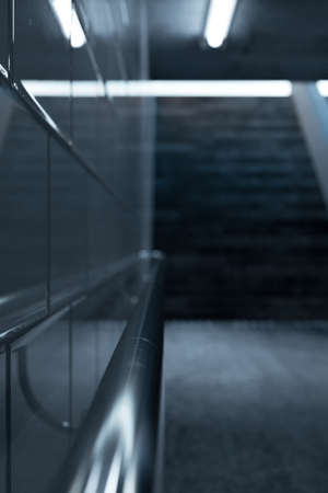 3d rendering of metal handrail in a subway underpass with staircase at the end