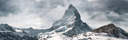 panoramic view to the majestic Matterhorn mountain, Valais, Switzerland