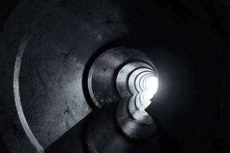 3d rendering of concrete round tunnel with light at the end