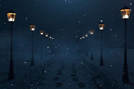 3D-Rendering der Landstraße mit Schneewegen und Laternenreihe bei Nacht Standard-Bild